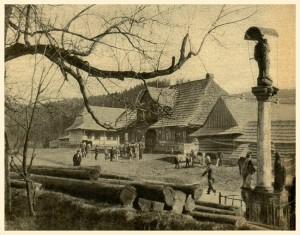 ,,Przedświąteczny targ na konie,, w Orawce na placu przed starą karczmą. Okres 1932 -34.